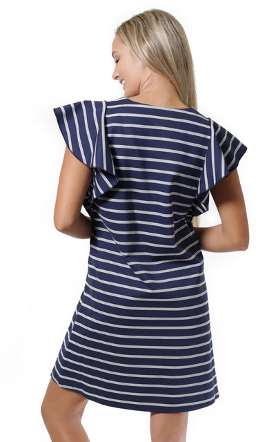 All For Color-Navy White Stripe Whitney Flutter Sleeve Dress - FINAL SALE-Dresses