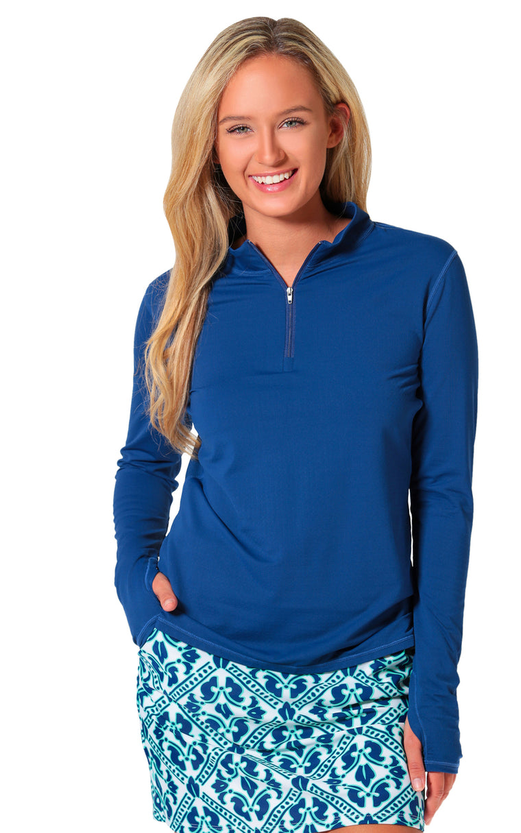 All For Color-Navy Quarter Zip Sun Protective Top - FINAL SALE-Tops