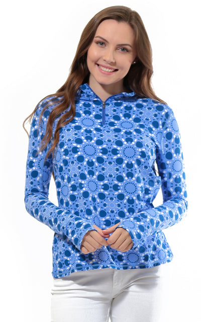 All For Color-Sun Seeker Blue Quarter Zip Sun Protective Top - FINAL SALE-Tops