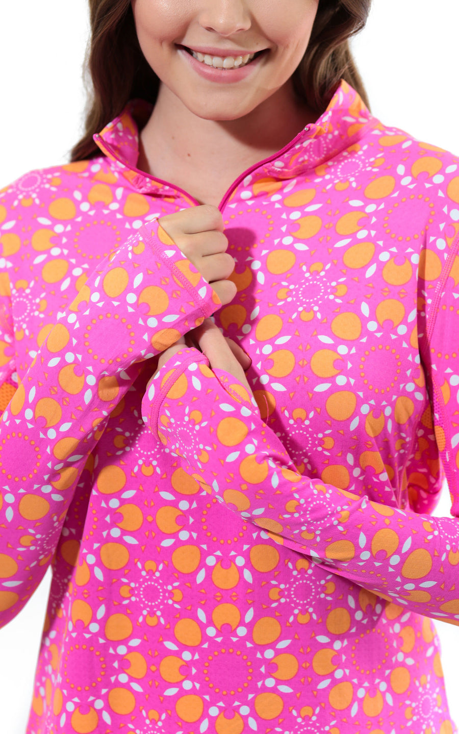 Sun Seeker Pink Quarter Zip Sun Protective Top - FINAL SALE