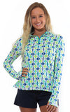 All For Color-Chasing Waterfalls Aqua Quarter Zip Sun Protective Top - FINAL SALE-Tops