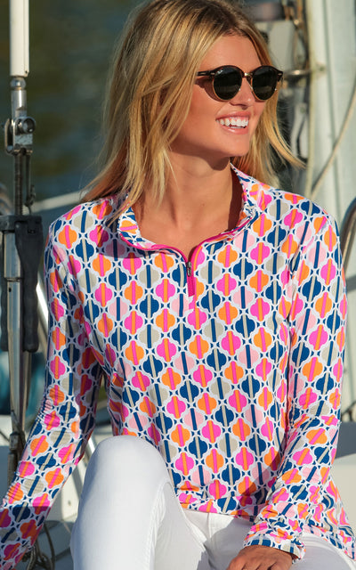 All For Color-Chasing Waterfalls Pink Quarter Zip Sun Protective Top - FINAL SALE-Tops