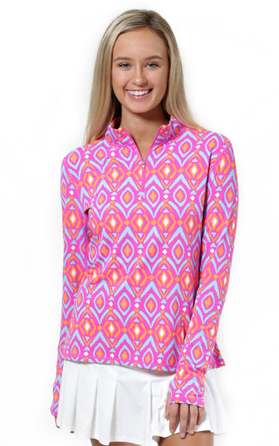All For Color-Spin It Pink Quarter Zip Sun Protective Top-Tops