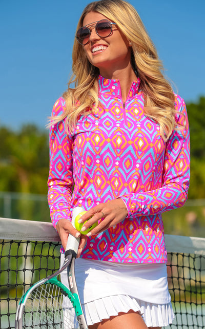 All For Color-Spin It Pink Quarter Zip Sun Protective Top - FINAL SALE-Tops
