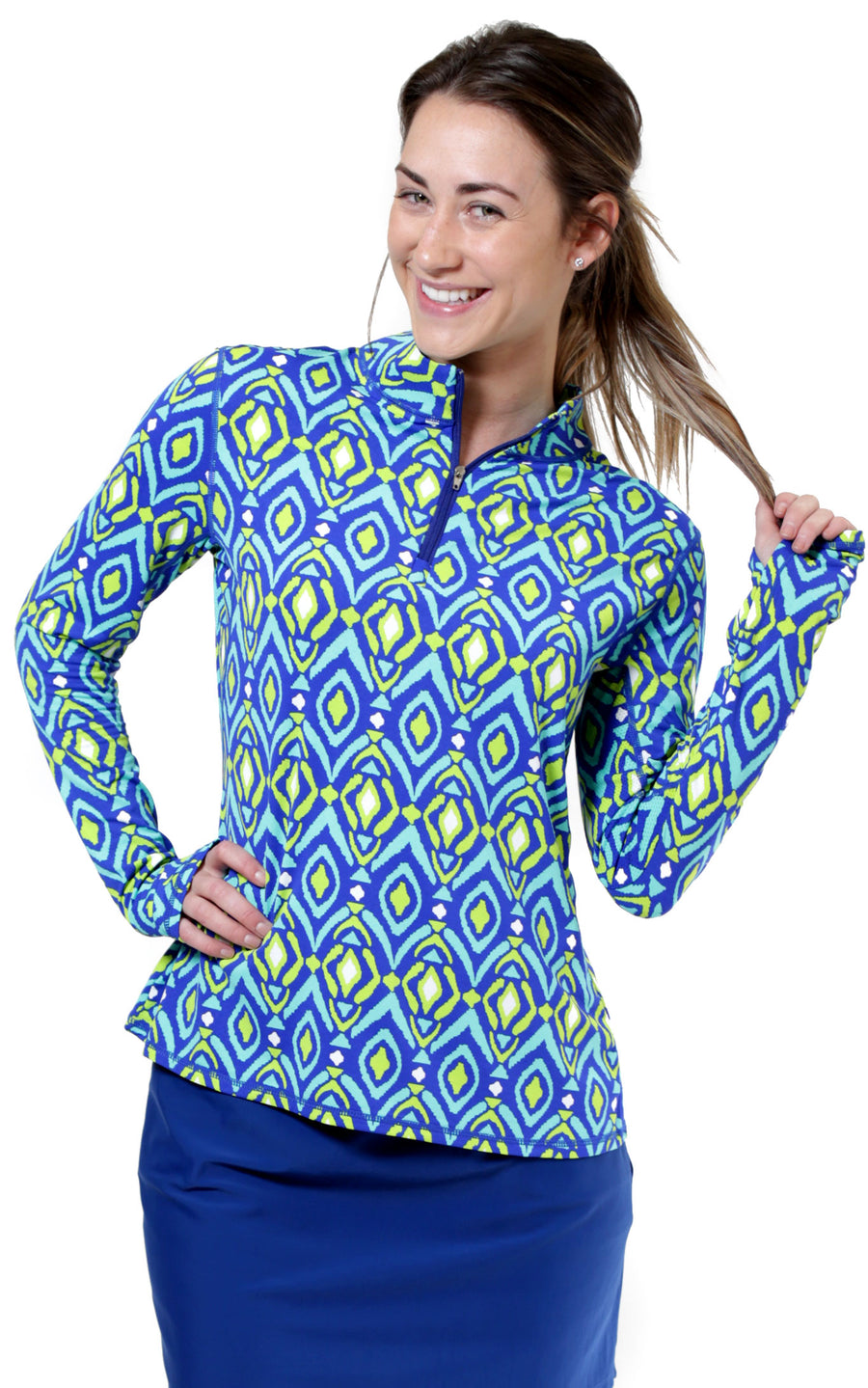 Spin It Lime Quarter Zip Sun Protective Top
