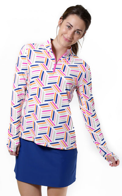 All For Color-On Par Pink Quarter Zip Sun Protective Top - FINAL SALE-Tops