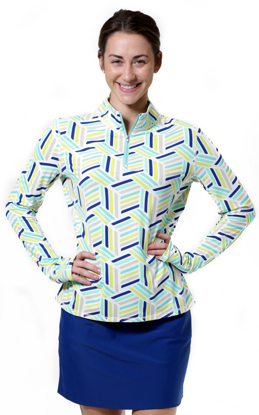 On Par Aqua Quarter Zip Sun Protective Top - FINAL SALE