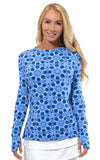 All For Color-Sun Seeker Blue Crew Neck Sun Protective Top - FINAL SALE-Tops