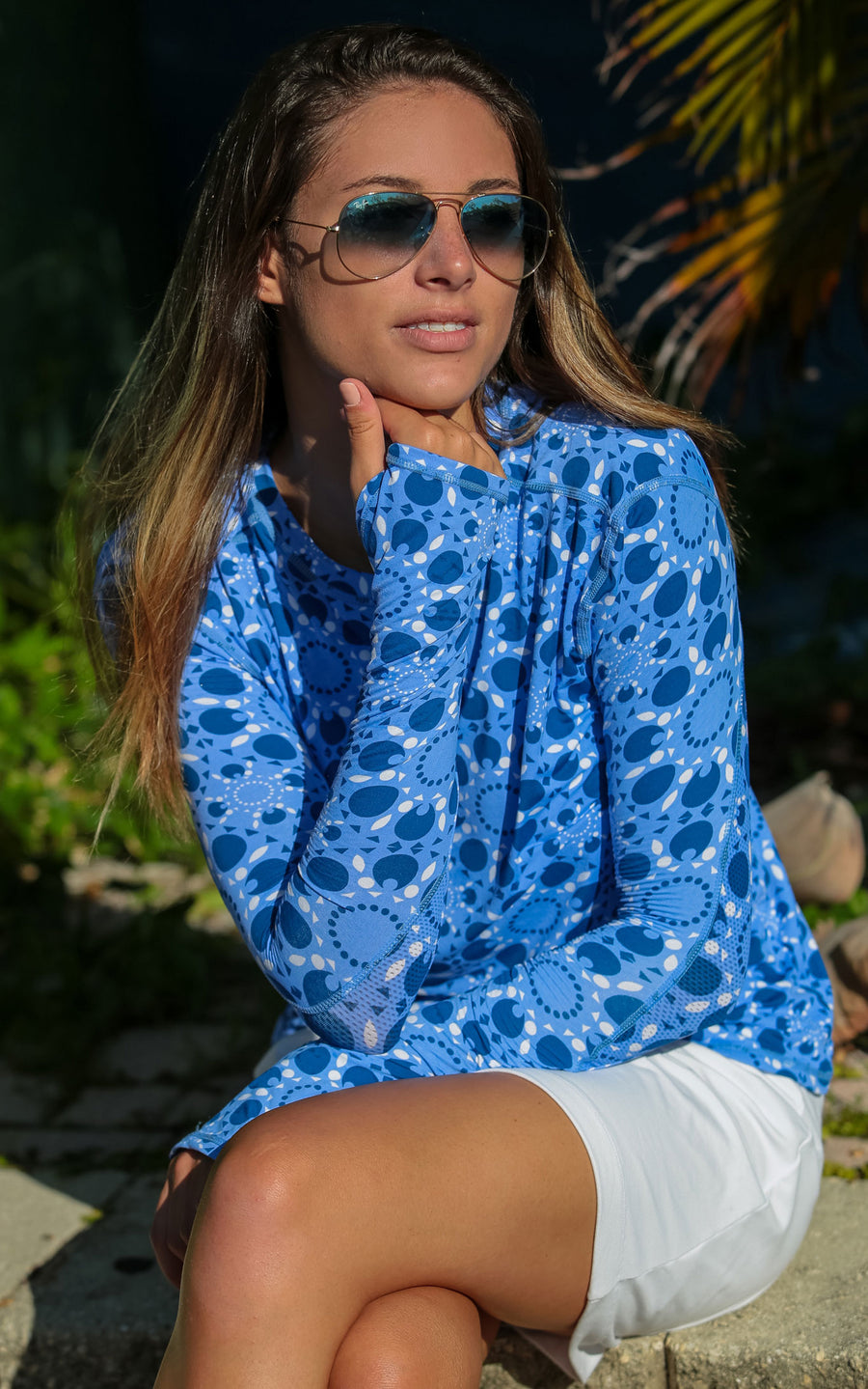 Sun Seeker Blue Crew Neck Sun Protective Top - FINAL SALE