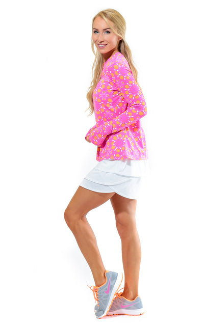All For Color-Sun Seeker Pink Crew Neck Sun Protective Top - FINAL SALE-Tops