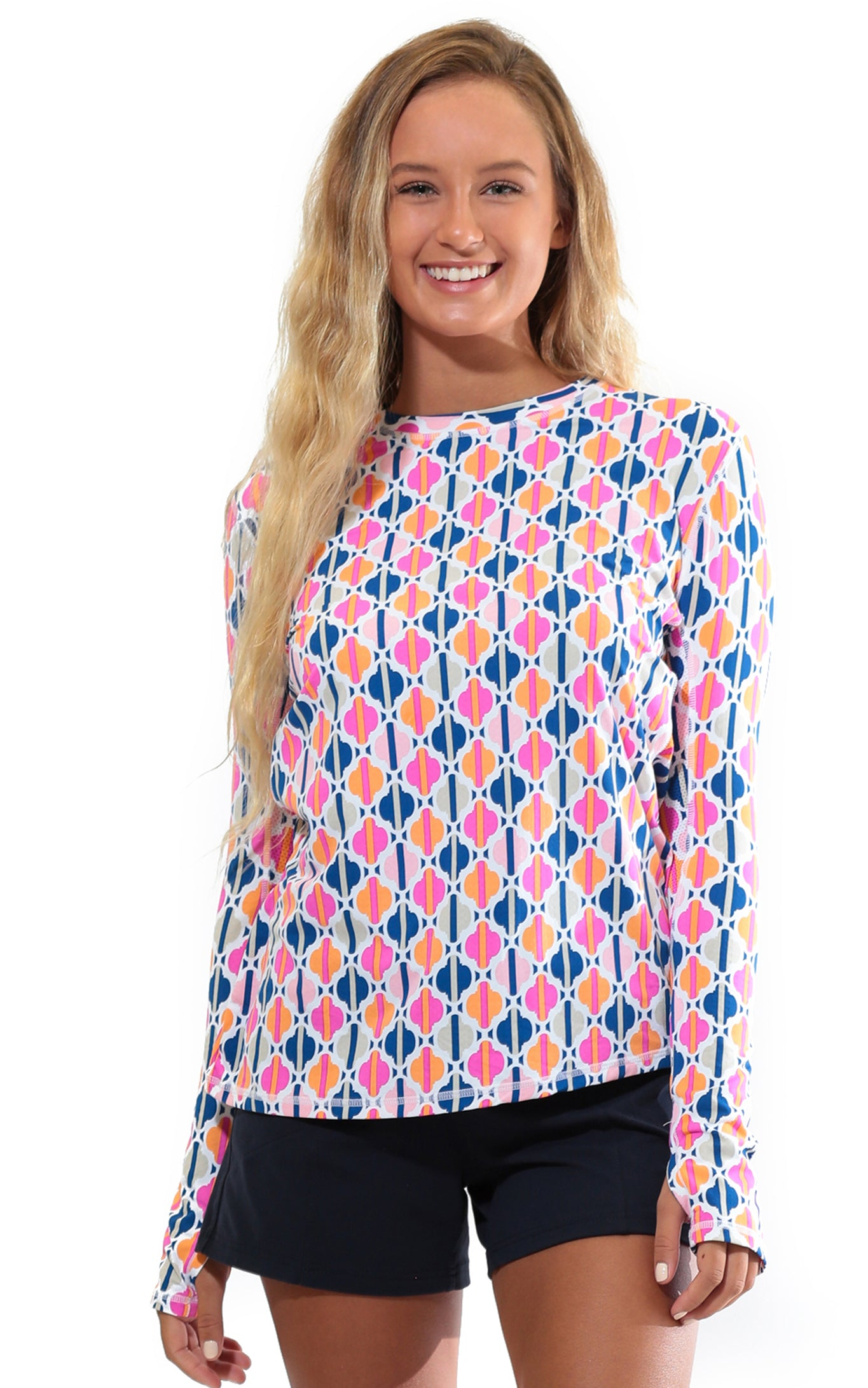 Chasing Waterfalls Pink Crew Neck Sun Protective Top