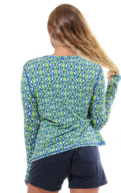 All For Color-Island Hopping Lime Crew Neck Sun Protective Top - FINAL SALE-Tops