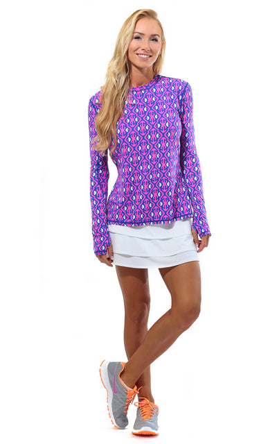 All For Color-Island Hopping Pink Crew Neck Sun Protective Top - FINAL SALE-Tops