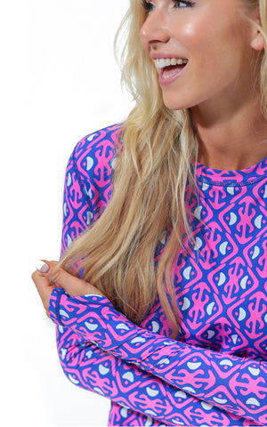 Island Hopping Pink Crew Neck Sun Protective Top