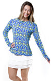 All For Color-Spin It Lime Crew Neck Sun Protective Top - FINAL SALE-Tops