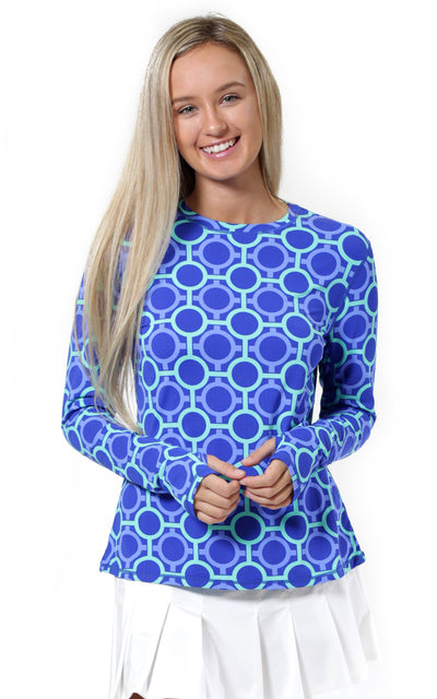 All For Color-Perfect Match Blue Crew Neck Sun Protective Top-Tops