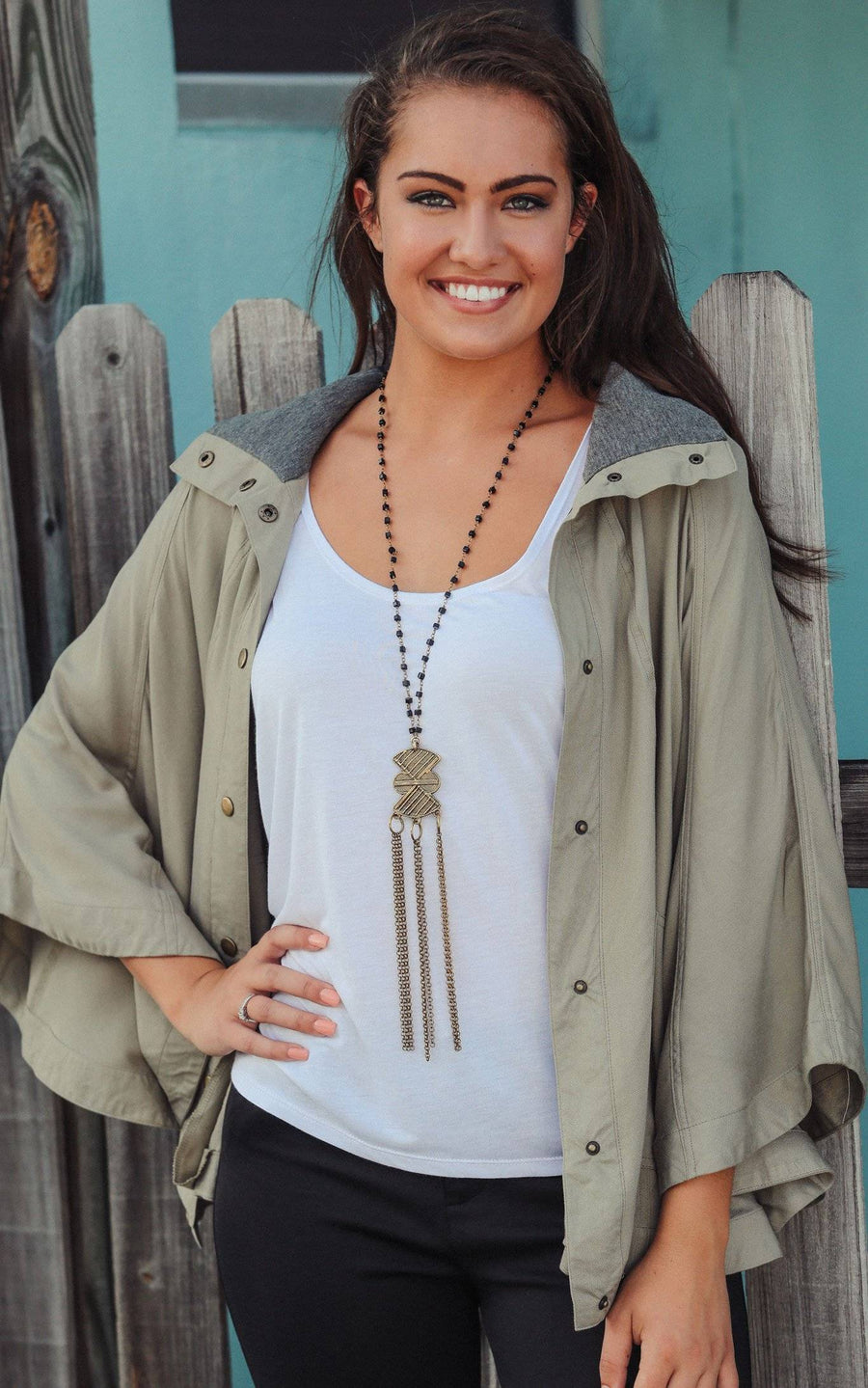 Olive Britt Poncho Jacket - FINAL SALE