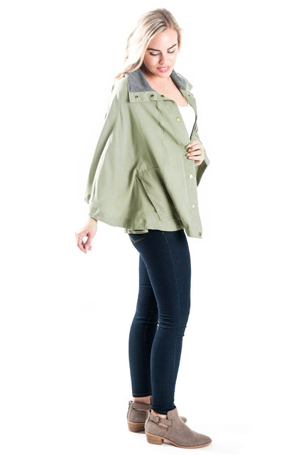 All For Color-Olive Britt Poncho Jacket - FINAL SALE-Jackets & Coats