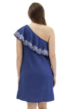 Sloane Ranger-navy tilly one shoulder ruffle dress. - FINAL SALE-Dresses