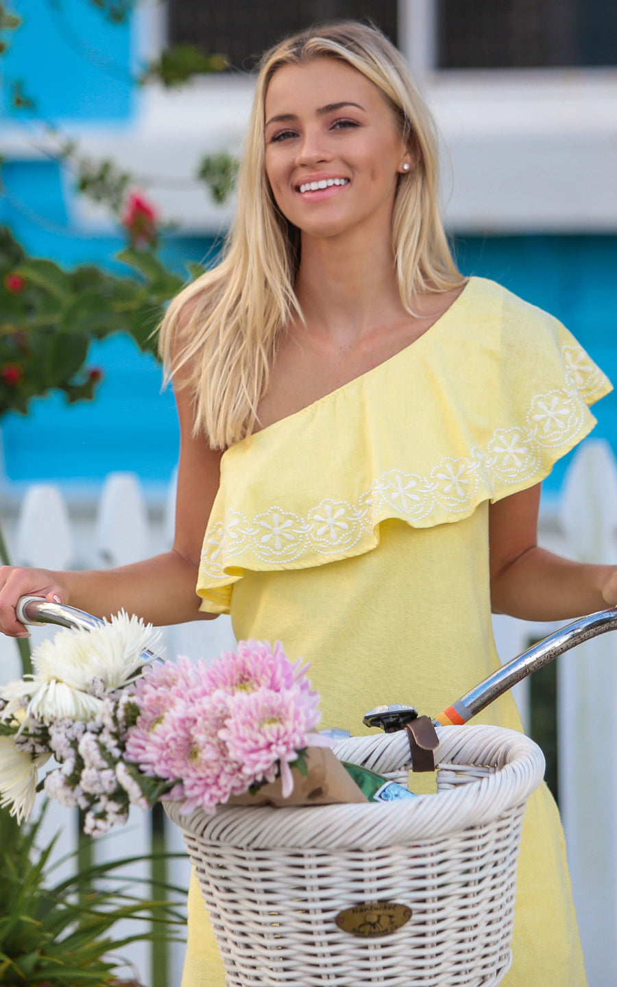 buttercup tilly one shoulder ruffle dress.