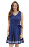 Sloane Ranger-navy caroline tie front dress. - FINAL SALE-Dresses