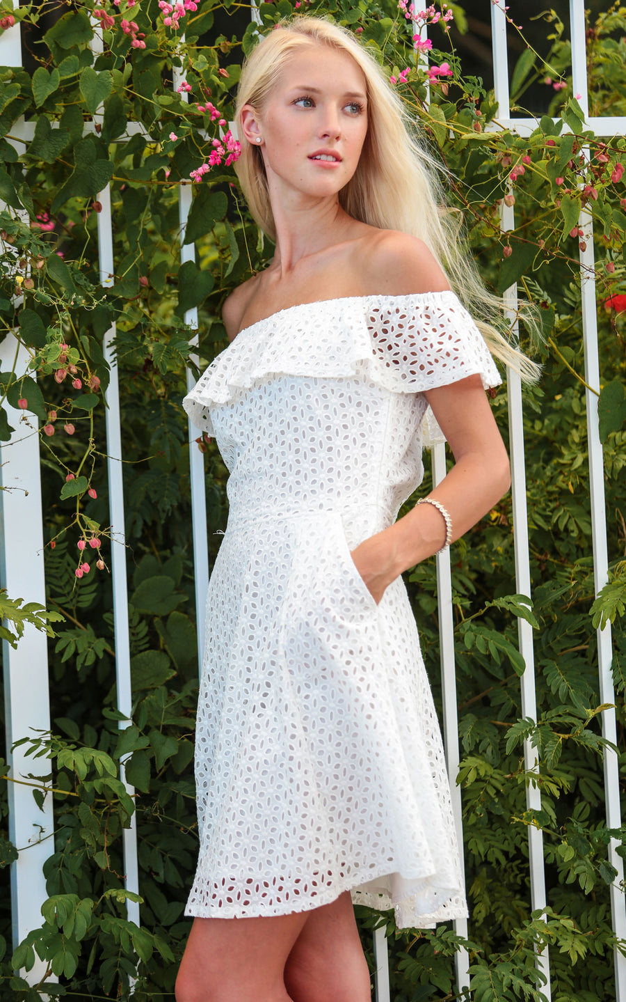 white eyelet courtney ruffle dress.