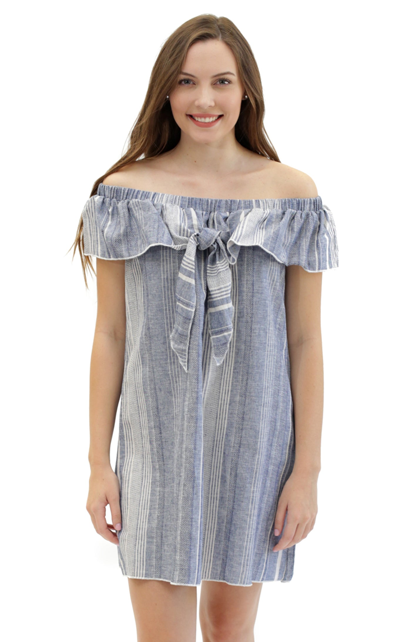 striped linen harlow knot front dress.