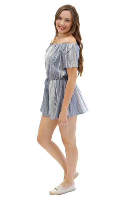 Sloane Ranger-striped linen sawyer romper. - FINAL SALE-Rompers