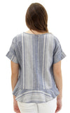 Sloane Ranger-striped linen presley flounce hem top.-Tops