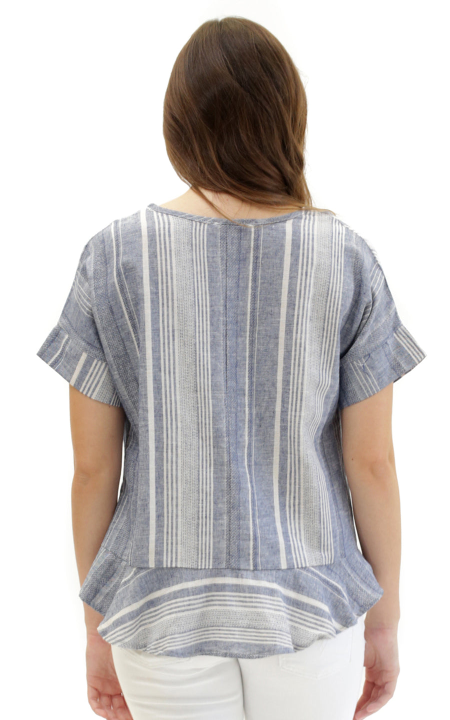 striped linen presley flounce hem top.