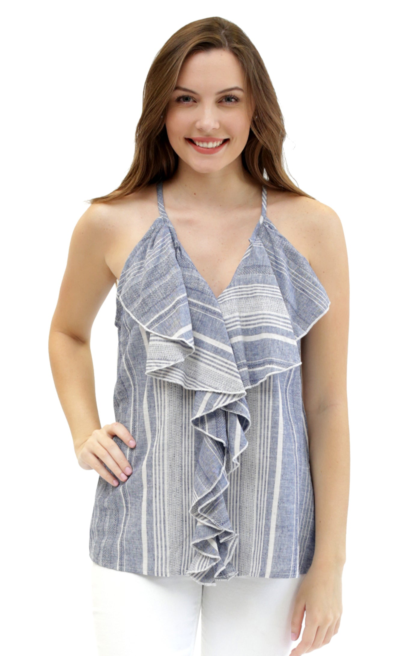 striped linen haven ruffle top.