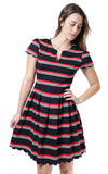 Sloane Ranger-navy red stripe ella pleated scalloped dress.-Dresses
