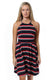 navy red stripe fiona scalloped halter dress. - FINAL SALE