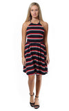 Sloane Ranger-navy red stripe fiona scalloped halter dress. - FINAL SALE-Dresses