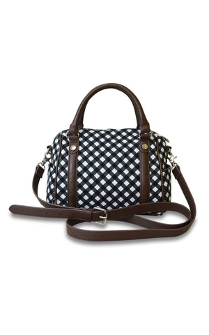 gingham mini satchel.