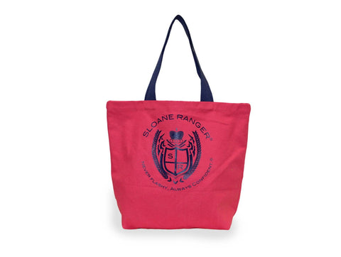 Sloane Ranger-red crest canvas tote bag.-Sloane Ranger Tote Bag