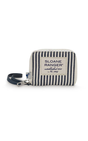 denim stripe id wristlet.