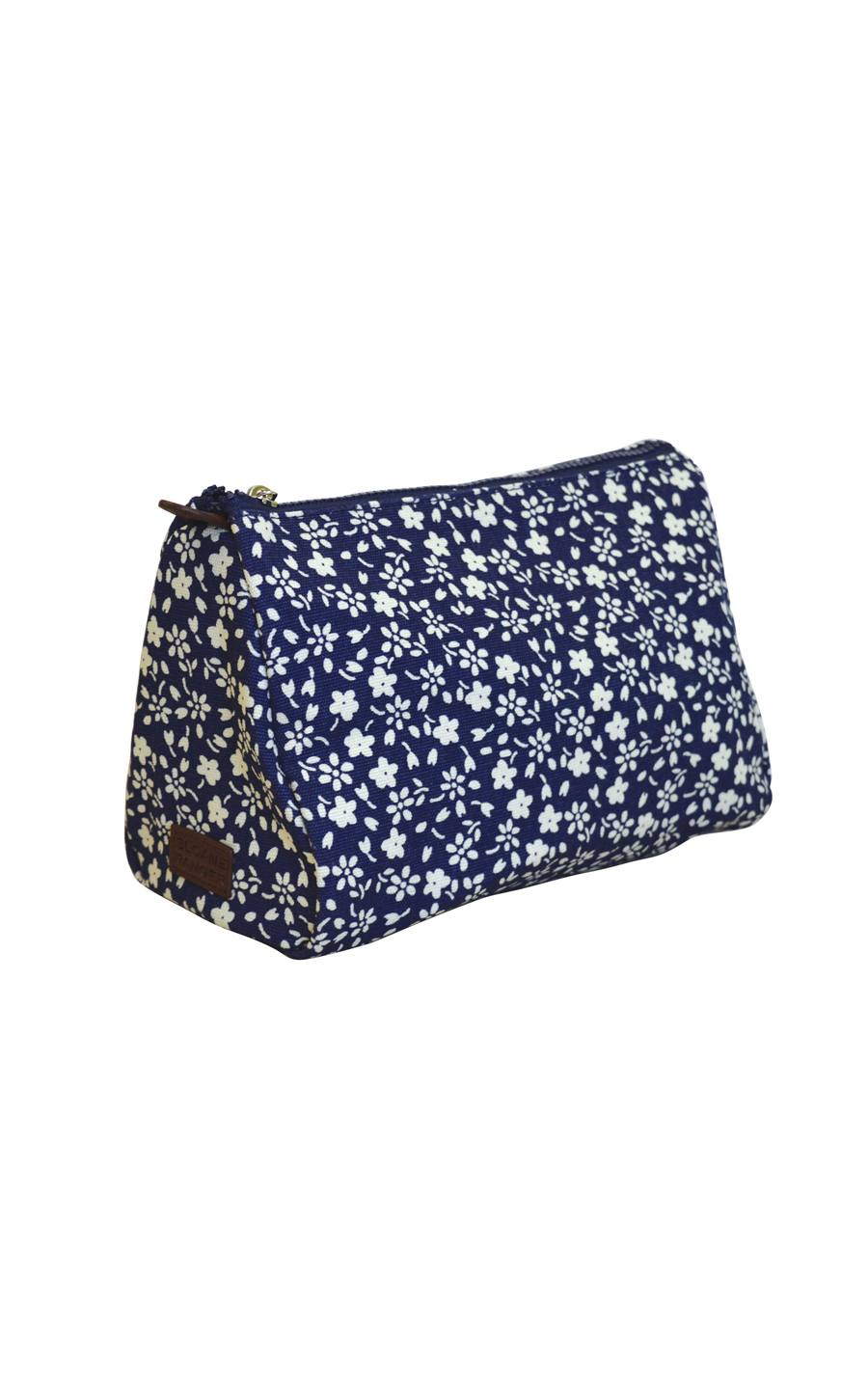 navy floral cosmetic pouch.
