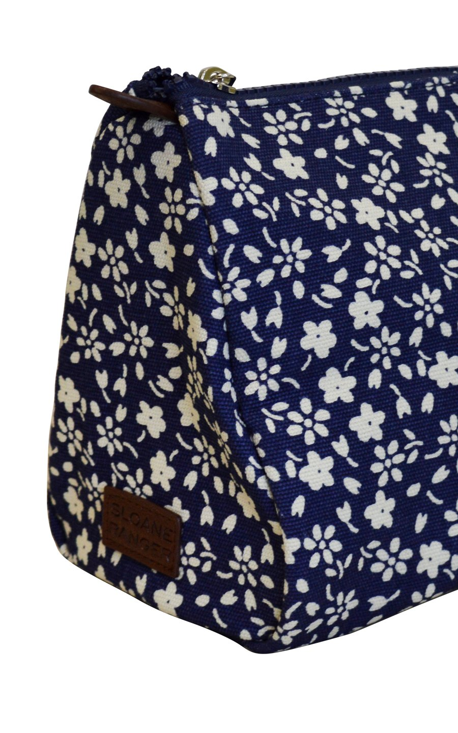 navy floral cosmetic pouch. - FINAL SALE