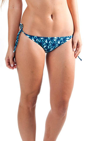 All For Color-Indigo Batik String Bikini Bottom-Bottoms