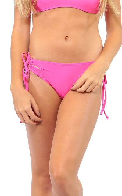 All For Color-Pink Lace Up Bikini Bottom - FINAL SALE-Swimwear
