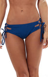 All For Color-Navy Lace Up Bikini Bottom - FINAL SALE-Swimwear