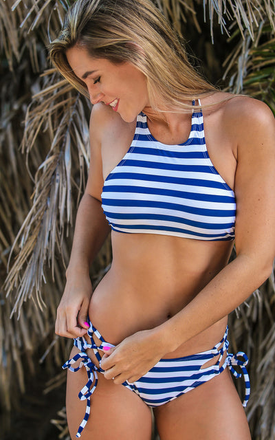 All For Color-Nautical Stripe Lace Up Bikini Bottom - FINAL SALE-Swimwear