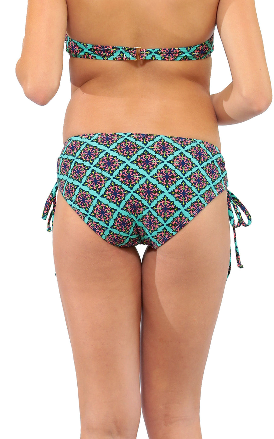 All For Color-Sea Jewel Lace Up Bikini Bottom - FINAL SALE-Swimwear