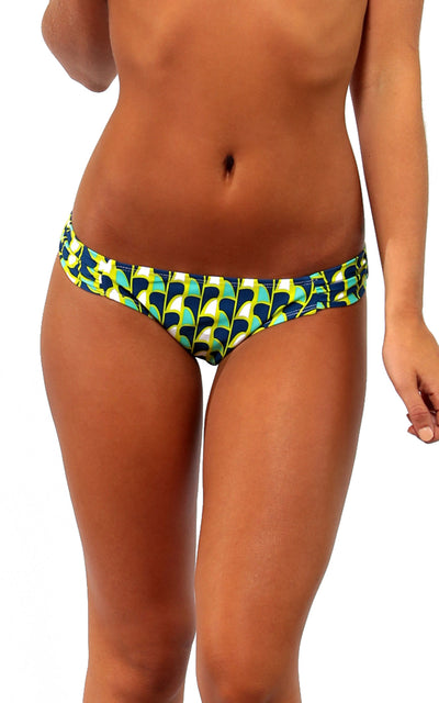 All For Color-Fins Up Gathered Side Bikini Bottom - FINAL SALE-Swimwear