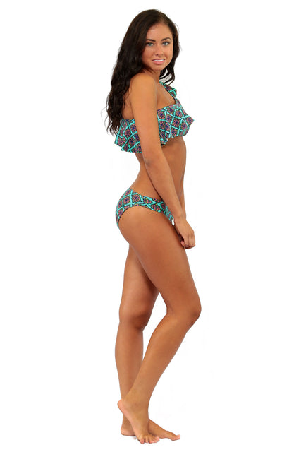 All For Color-Sea Jewel Gathered Side Bikini Bottom - FINAL SALE-Swimwear