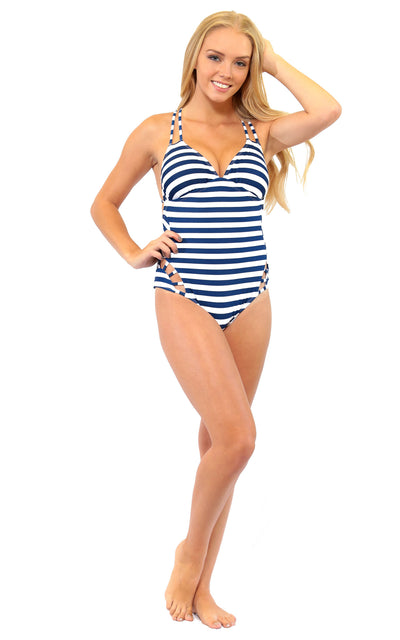 All For Color-Nautical Stripe Cross Back One Piece - FINAL SALE-Swimwear