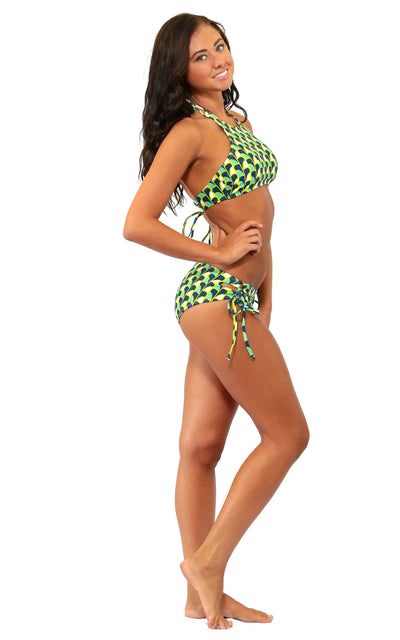 All For Color-Fins Up Cross Back High Neck Bikini Top - FINAL SALE-Swimwear
