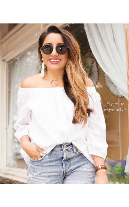 White Cotton Belle Off The Shoulder Blouse