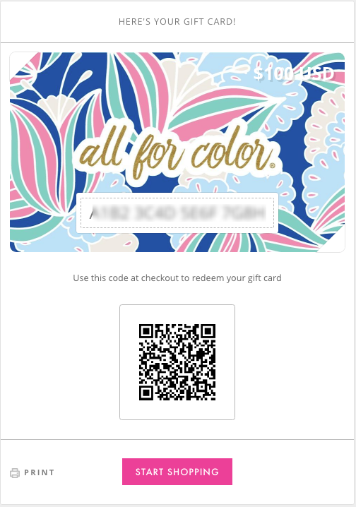All For Color-All For Color Gift Card Printable-Gift Card